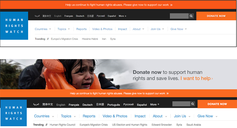 HRW Homepage TestsNote how the top test featues an orage banner, and the bottom test features a banner AND a compelling photo.